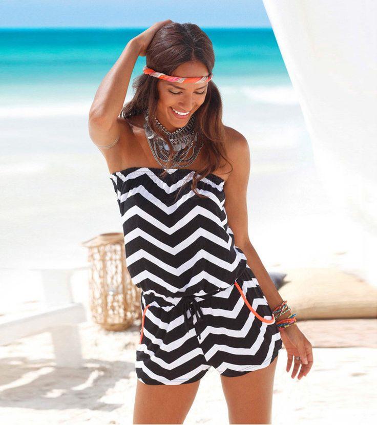 Strapless Stripe Print Elastic Waist Short Beach Jumpsuit