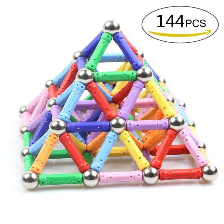 Magnetic Sticks Construction Set 144 Pieces Stacking Toy Educational Play Set