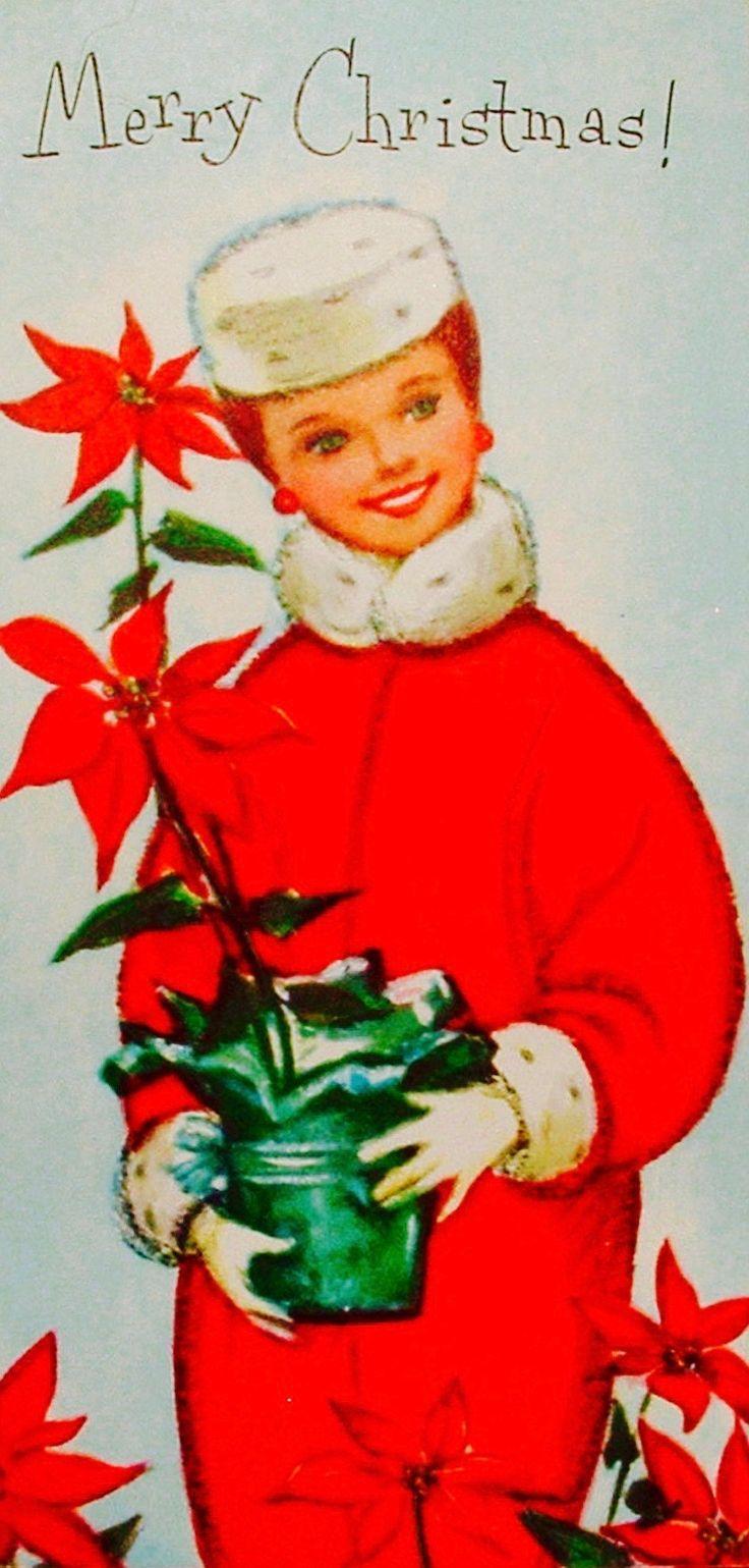 Christmas Glamour. Vintage Christmas Card. Retro Christmas Card. Pillbox Hat. Poinsettias. Merry Christmas.