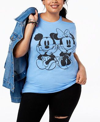 1519fd13e Shop Disney Plus Size Mickey & Minnie Mouse Cold-Shoulder T-Shirt online at  Macys.com. A cold-shoulder cutout brings fresh chic to the classic Minnie  and ...