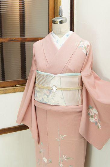 pale pink kimono with silver obi