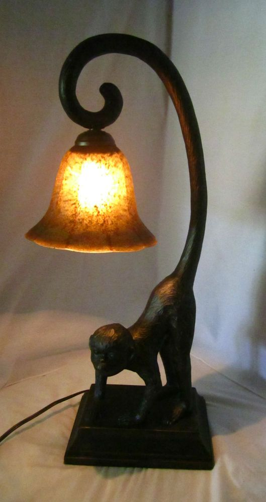 Monkey Table Lamps: Austin Monkey Lamp Glass Shade Table Lamp Tropical Decor,Lighting