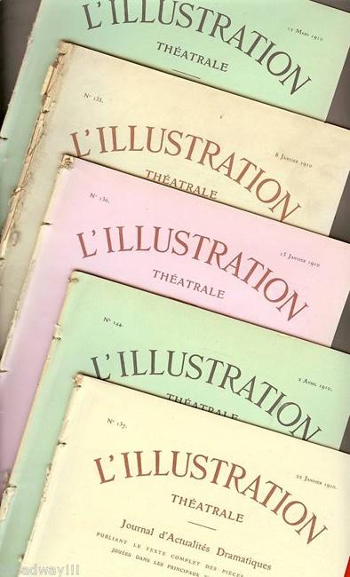 """Set of 5 Bourdet """"L' Illustration"""" 1910 Paris Theatre magazines $75"""