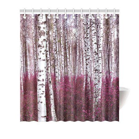 HelloDecor Birch Tree Shower Curtain Polyester Fabric Bathroom Decorative  Curtain Size 66x72 Inches