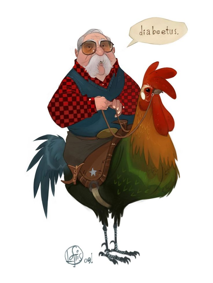 """""""diabeetus"""" wilford brimley riding a rooster (?!) by cory loftis"""