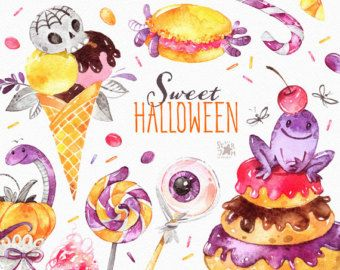 Dolce Halloween. Clipart dell'acquerello, caramella, ghiaccio crema, lecca-lecca, zucchero filato, torta, Amaretto, cranio, bambino, invito, stampa, bambini, citazione