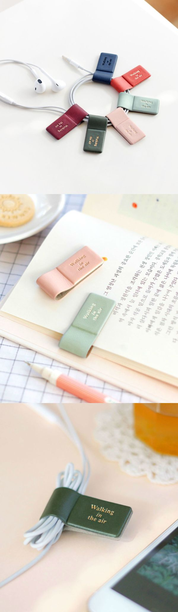 With this colorful winder, organizing earphones and cables becomes a breeze! You can even use it as a pen holder by attaching it to your planner or notebook. Plus, the inner surface is made of suede and it can be used as a screen cleaner. For something this small, it's very functional and versatile!