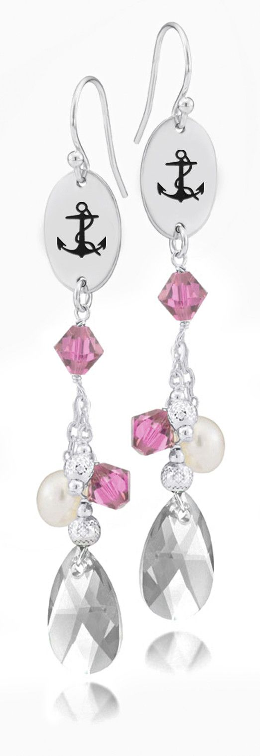 Delta Gamma Symbol Pink Crystal and Freshwater Pearl Earrings