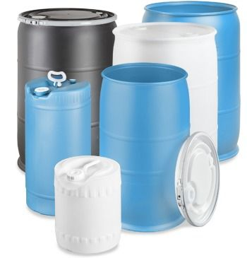 No-frill rain barrel. Plastic Drums various sizes - ULINE