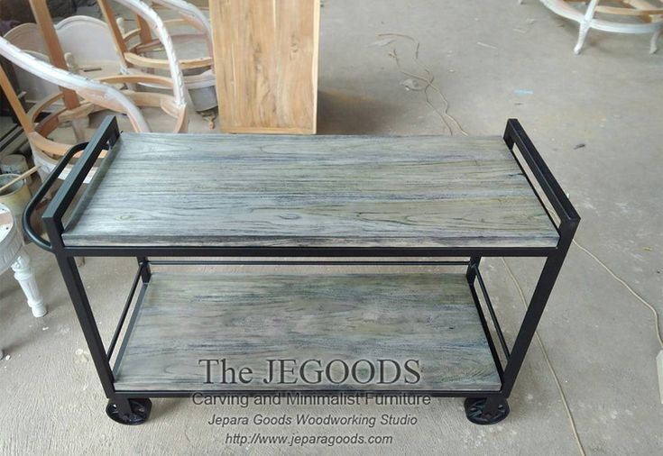 Trolley Table Rustic Industrial Iron Wood by the Jepara Goods Woodworking Studio Indonesia. We produce and supply #rusticfurniture #industrialfurniture at affordable price by skilled #craftsman from Jepara, Central Java - Indonesia. #vintageindustrial #mebelkayubesi #mebelrustic #kursikayubesi #kursicafe #metalchair #mejabesikayu #mejacafe