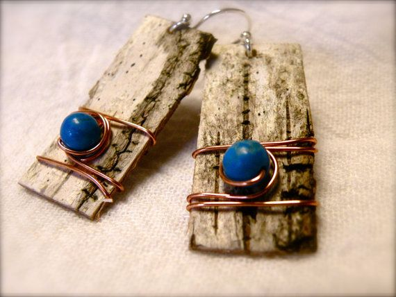 These little hotties just steal my heart! Traditional north woods charm with an organic Native American art feel and a twist of modern chic. The textured birchbark with Howlite (imitation turquoise) and copper is a combination of pure addiction for me. Not too big, not too small, not to chic and not too rugged, they can be worn for any occasion and have a fascinating ability to dress up AND dress down simultaneously.