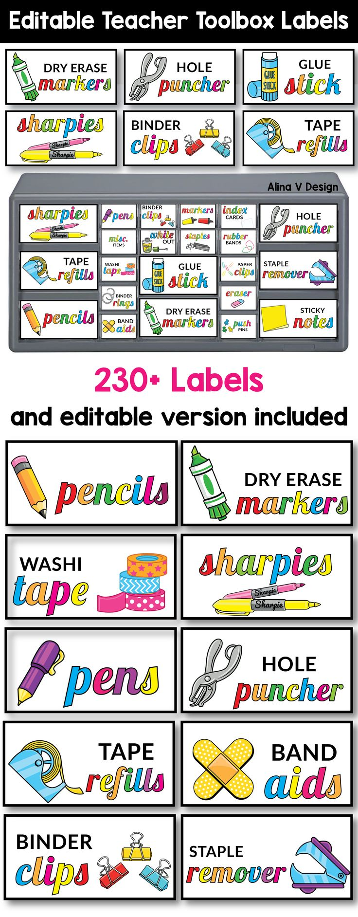 "230+ Bright and colorful editable teacher toolbox labels that are designed to fit the  ""Stack-on"" 22 drawers and 39 drawers from Lowe's. A great classroom organization idea that will keep your school and office supplies in order. This tool box will help you keep the clutter out of your desk and will make Mondays much easier."