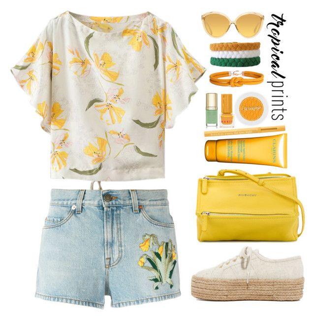 """""""Tropical Vacation"""" by gicreazioni ❤ liked on Polyvore featuring Gucci, Superga, Linda Farrow, Givenchy, Clarins, Too Faced Cosmetics, Dolce&Gabbana and Habit Cosmetics"""