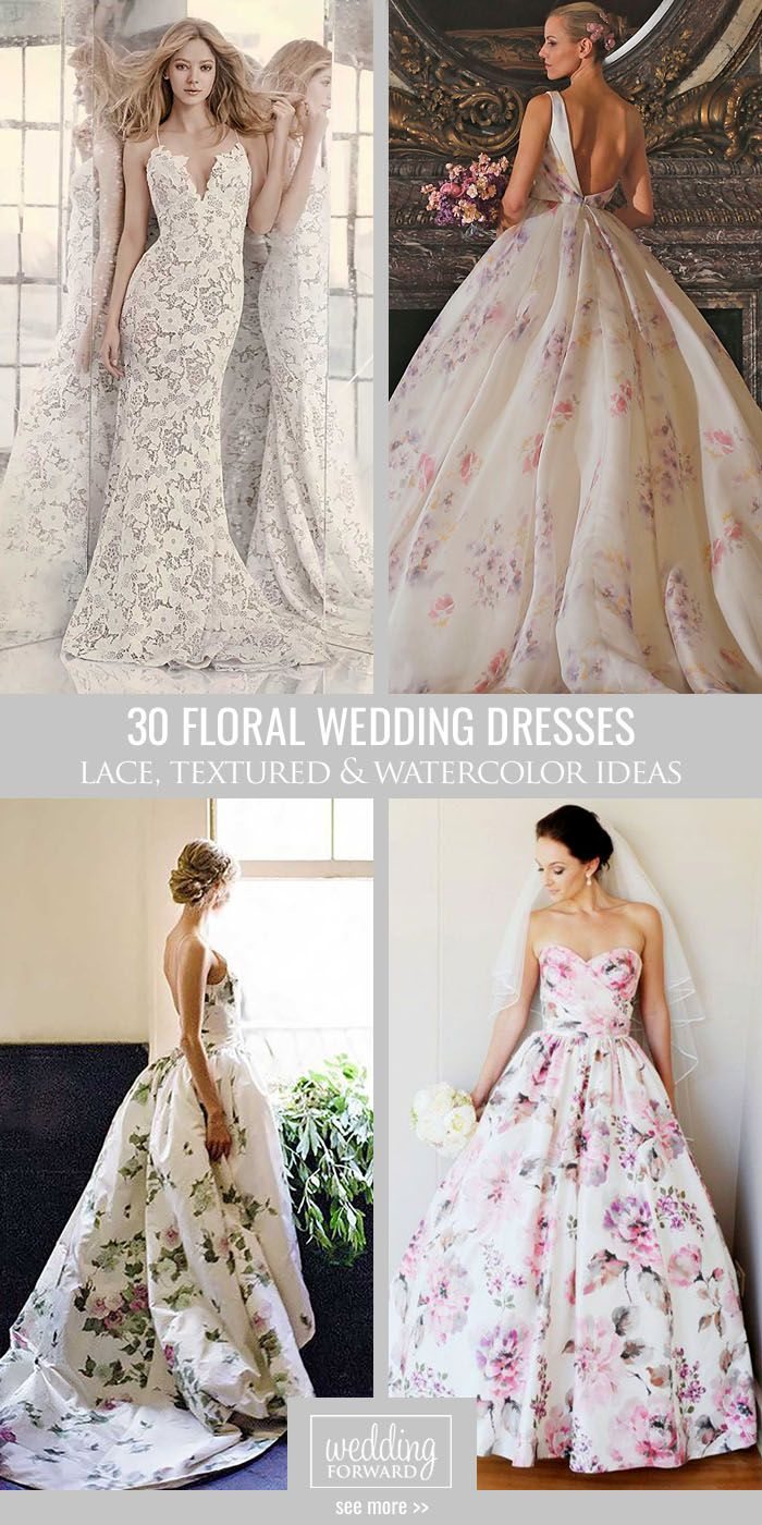 30 Floral Wedding Dresses That Are Incredibly Pretty ❤ Our gallery of floral wedding dresses are for non traditional brides. See more: http://www.weddingforward.com/floral-wedding-dresses/ #wedding #dresses #floral