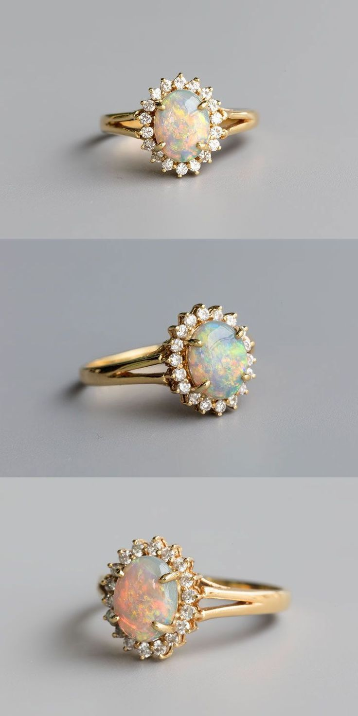 Australian Solid Black (Light Brown) Opal Engagement Wedding Ring. The Opal Hues in Beautiful Rainbow Colors and also Surround by 18 VVS Quality Diamonds in a 18K Yellow Gold Setting. Free Gift Bag/Box with every order! | eBay!
