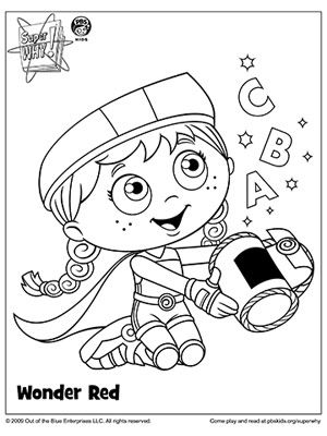 SUPER WHY Coloring Book Pages: SUPER WHY's Wonder Red with Letters (via Parents.com)
