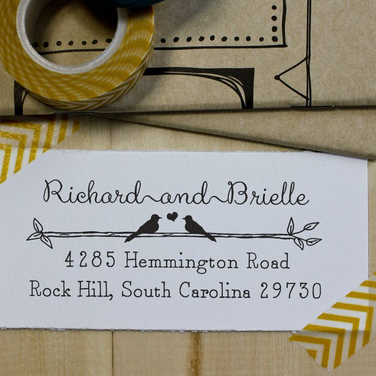 Custom Rubber Stamp - Eco Mount Personalized Address Stamp- Wedding Stamp - Rustic Birds in Love. $21.95, via Etsy.