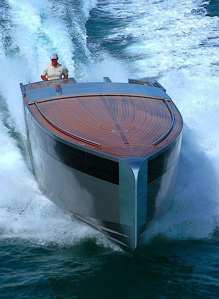 'LIMOUSINE' -  Styled by PHILIPPE STARCK with Navel Architecture by PATRICK BANFIELD and built by VAUDREY MILLER YACHT from Auckland New Zealand, this craft is the tender to the equally unusually designed superyacht 'A' (owned by the Russian billionaire Andrei Melnichenko along with his Serbian supermodel wife Aleksandra Nikolic). It has a sumptuous interior with a standing headroom of 1.9 metres and all the hatches are hydraulically powered as is the mast that carries the navigation lights.