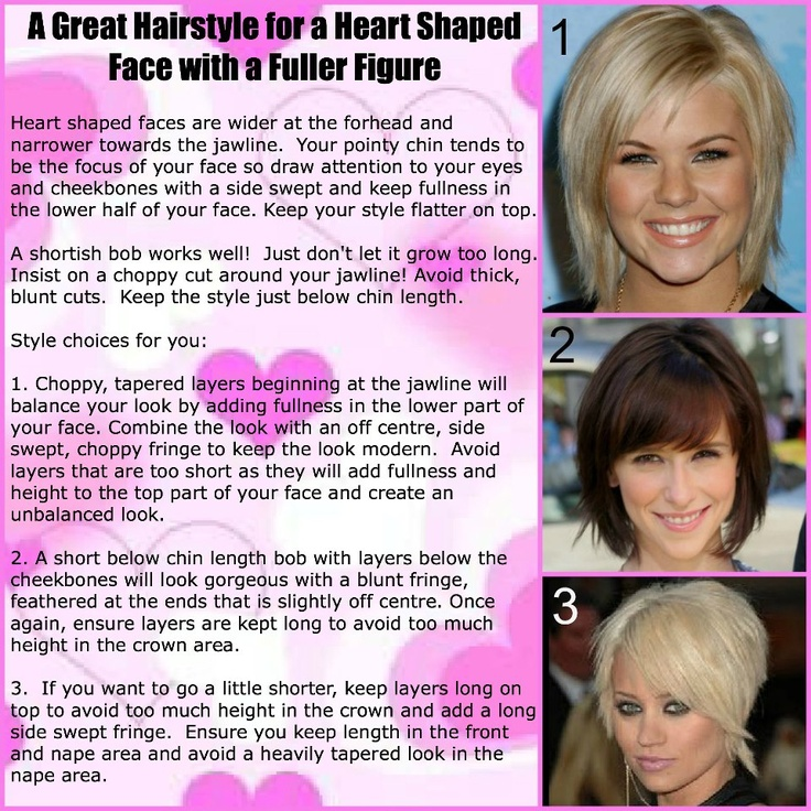 HAIRSTYLES FOR A HEART SHAPED FACE AND A FULLER FIGURE http://www.facebook.com/pages/Rock-your-Locks/133025596754055?fref=ts