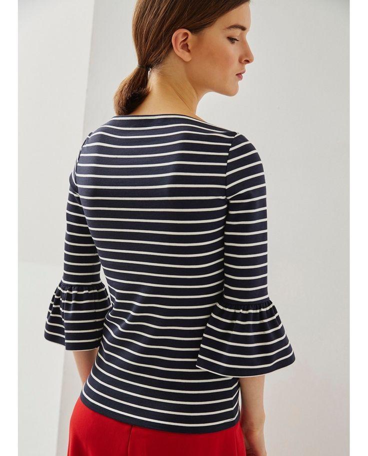 Adolfo Dominguez Camiseta de mujer con volantes en las mangas Estampado,adolfo dominguez ofertas,aclamado