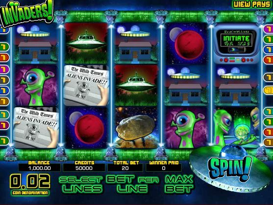 Enjoy Invaders,  a space themed slots game at Sweet Bet
