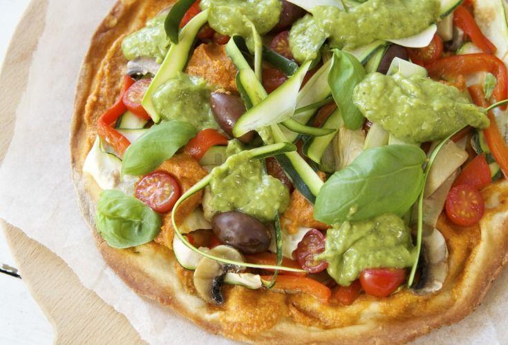 Vegan Pizza with Tomato Cashew Cream and Avocado Herb Sauce - Nadia Lim