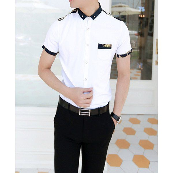 Fashion Button Design Printed Splicing Shirt Collar Short Sleeve Slimming Cotton Shirt For Men, WHITE, XL in Shirts | DressLily.com