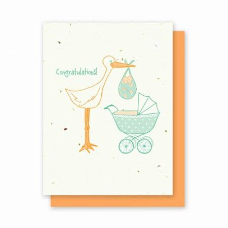 Трогательный аист донесет ваши самые сердечные пожелания родителям новорожденного ребенка.