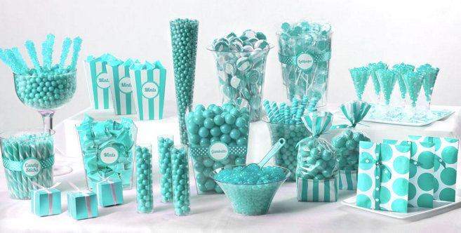 Robin's Egg Blue Candy Buffet - Party City | Senior Rep Inspiration | Pretty Pastels