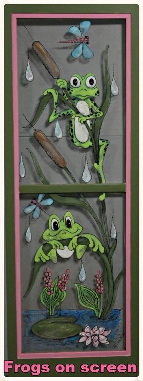 Frogs, Artwork, painted screens, screens