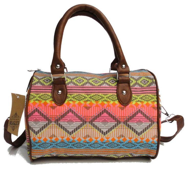 Beagles Vintage Canvas Neon Aztec Patterned Top Handle Cross-body Shoulder Bag Purse Hand Bag Retro by BagintheDays on Etsy