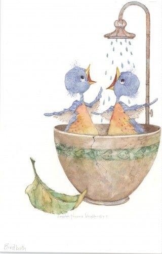 Bird Bath - Carolyn ShoreS Wright