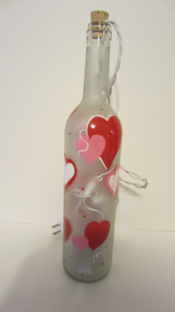Valentine Hearts Lighted Wine Bottle By Everythingpainted