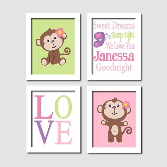 Girl Monkey Nursery Wall Art Pink Purple Green Love Personalized Goodnight Quote Set of 4 Prints Nursery Artwork Picture Girl Bedroom Decor on Etsy, $37.00