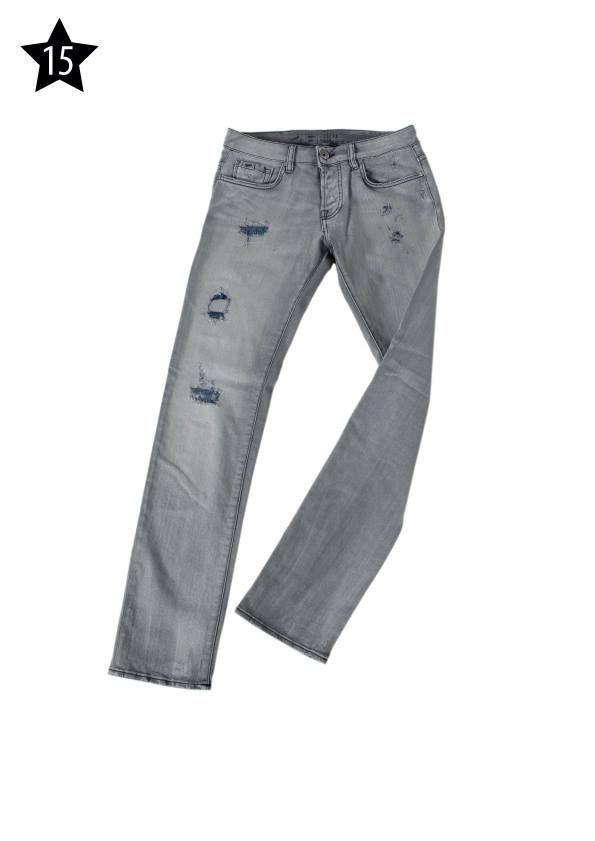 """US FASHION STORE - Pantaloni """"Gas"""" in denim grigio delavato e strappato, con inserti blu scuro."""