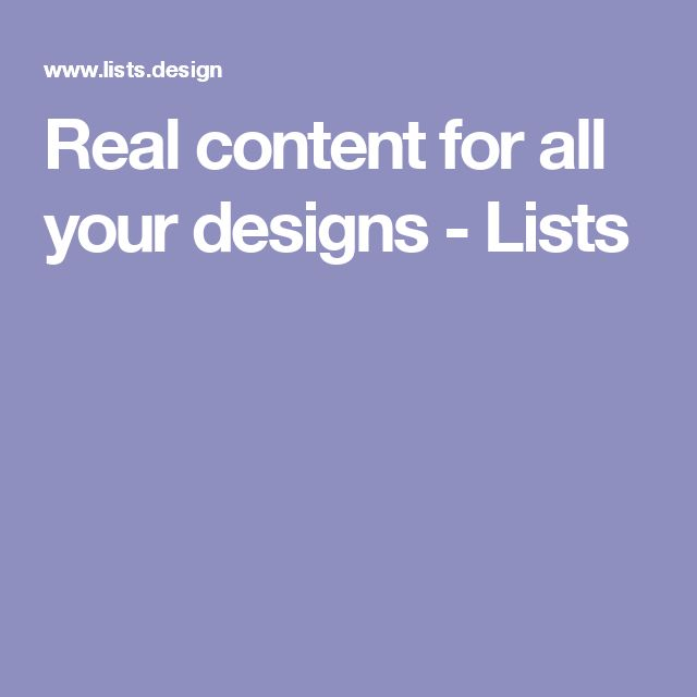 Real content for all your designs - Lists