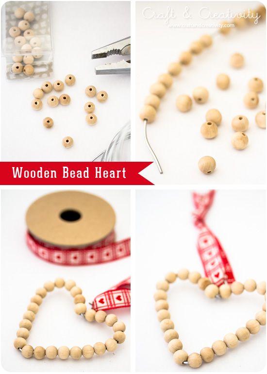 Wooden Bead Heart - by Craft & Creativity