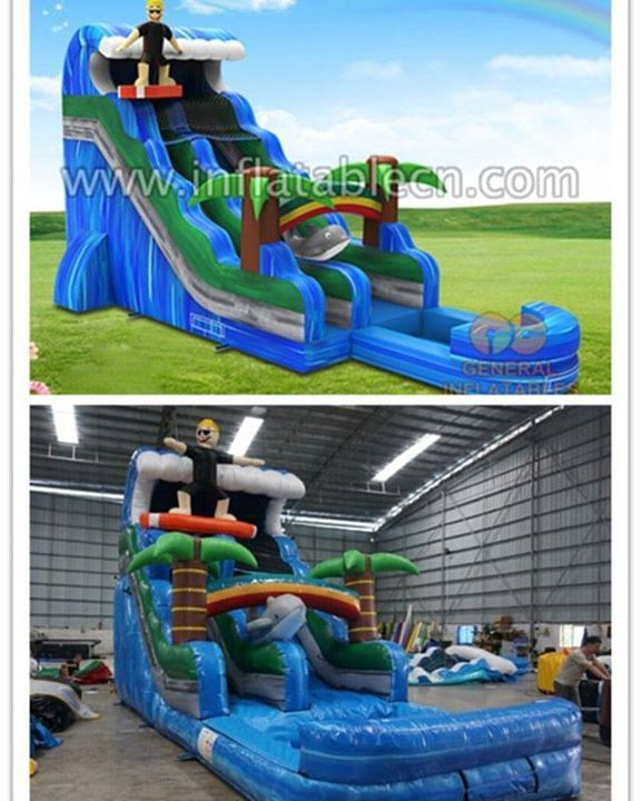General Inflatables Designed Surf Inflatable Water Slide The Real Product Is Completely The Same As 3d Rendering Inflatable Water Slide Inflatable Water Slides