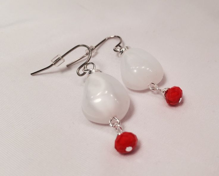 EARRINGS Pretty White Chunky Czech Glass Abstract shape bead with Tangerine dangle summer time fun Unique shabby chic Youthful gift for her by wandandwear on Etsy