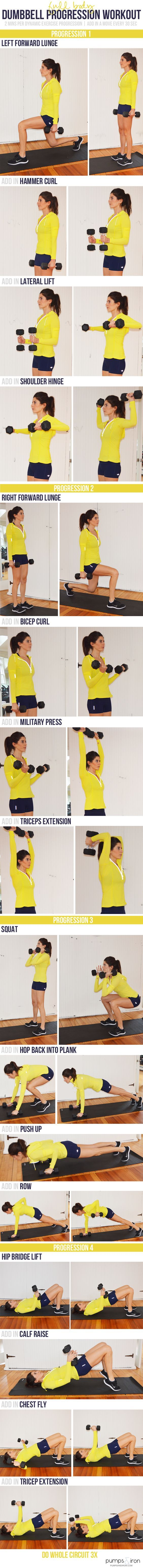 Full-Body Dumbbell Workout -- takes under 30 minutes to complete Body pump. http://pumpsandiron.com/2015/04/08/dumbbell-progression-workout/