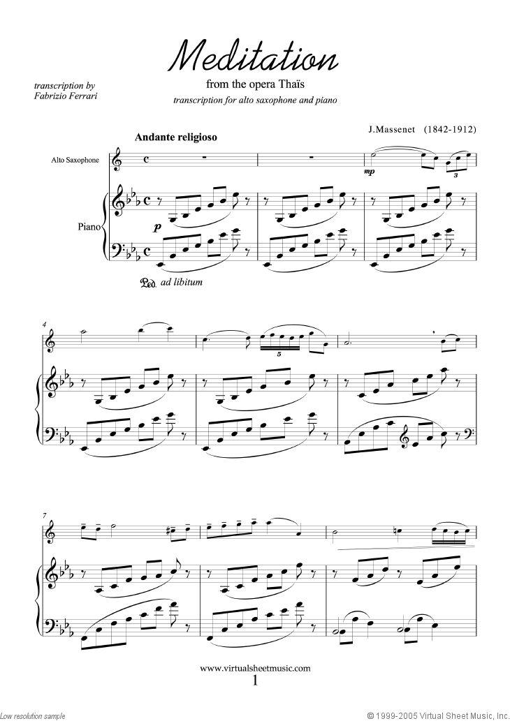 meditation piano sheet music pdf
