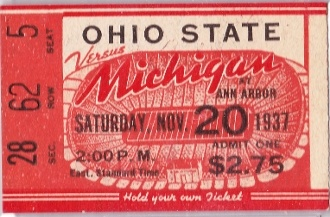 Ohio State football ticket. http://www.shop.47straightposters.com/1937-Michigan-vs-Ohio-State-37MICHOSU.htm