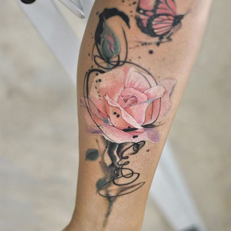 soft pink rose tattoo