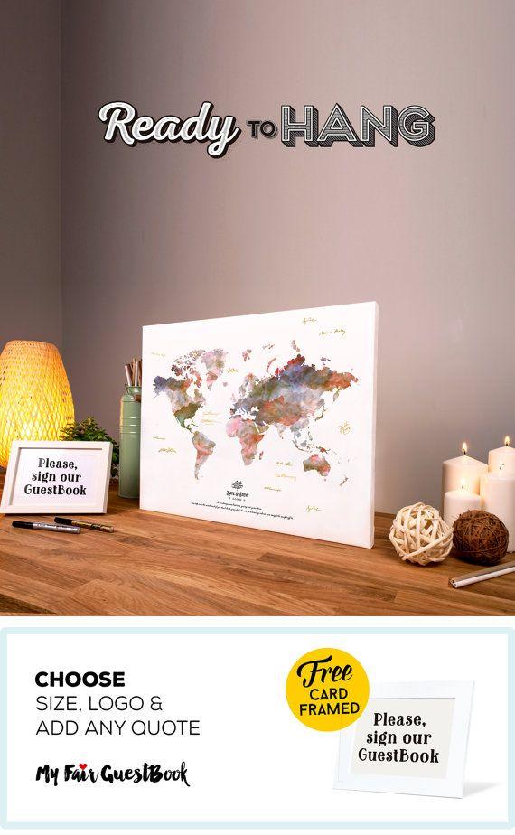 Gepersonaliseerde bruiloft wereld kaart gastenboek - bruiloft decoratie - Canvas Wrap Ready to Hang - douanehandtekening gastenboek