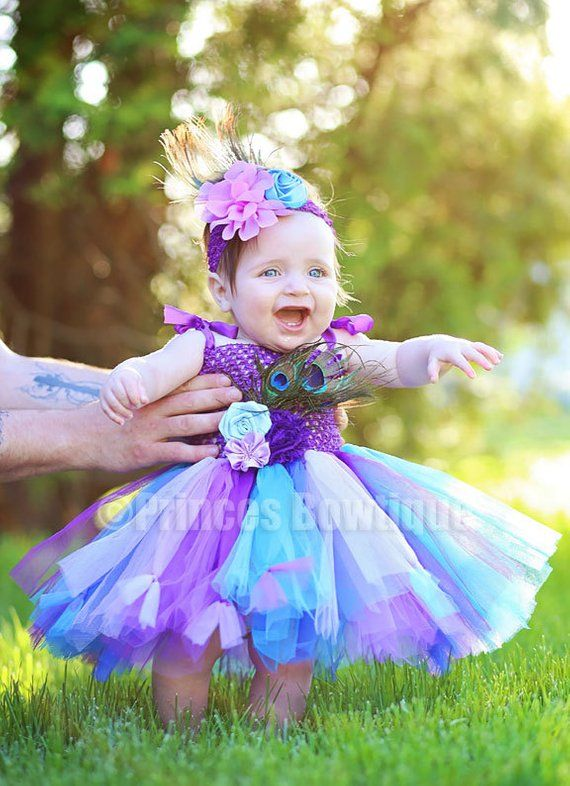 f3f01ef9cf Baby Tutu Dress, Peacock Baby Dress, Cake Smash Outfit, Flower Girl Dress,  Peacock Dress Up Costume,