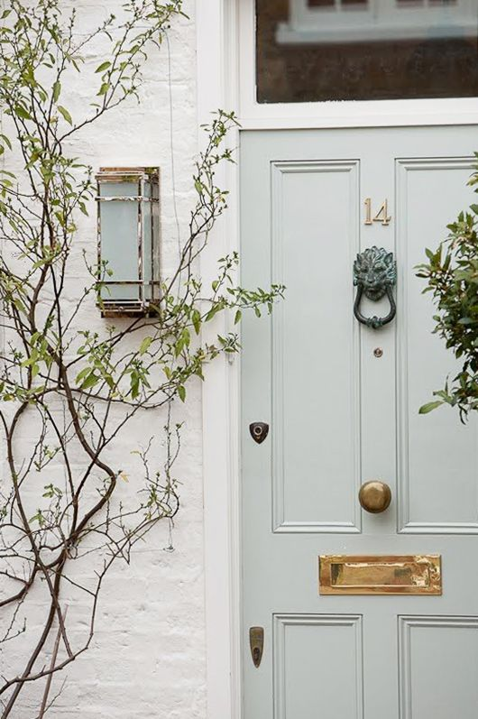 dream house: the front door. I love the colour of this door - could it be F&B mizzle? that with the brass door furniture is what I want