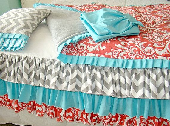 Coral Teal And Grey Chevron Toddler Crib Bedding By