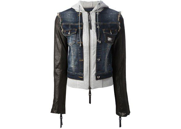 31 Perfect May Outfits JERSEY DENIM LEATHER JACKET, $1,519, PHILLIPP PLEIN, FARFETCH.COM