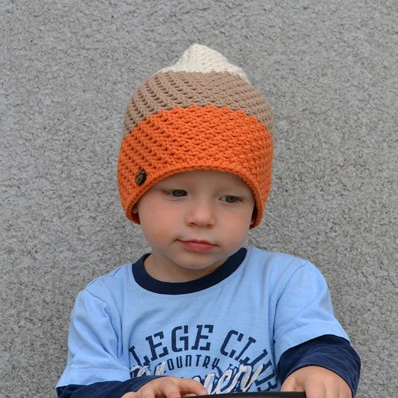 Check out Baby Boy Cotton Hat in Orange Light Brown and Off White on acrazysheep