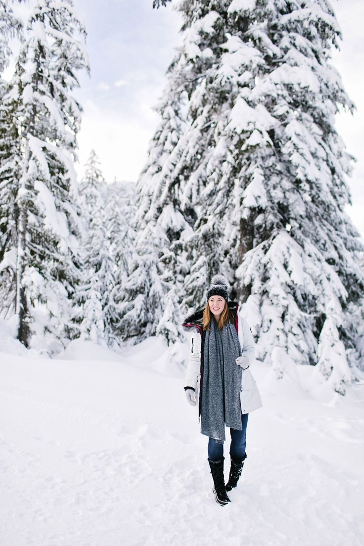 What to wear in the snow in Vancouver, with Noize parka, Express pom pom beanie